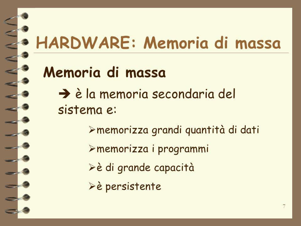 7 HARDWARE: Memoria di massa Memoria di massa è la memoria secondaria del sistema e: memorizza grandi quantità di dati memorizza i programmi è di gran