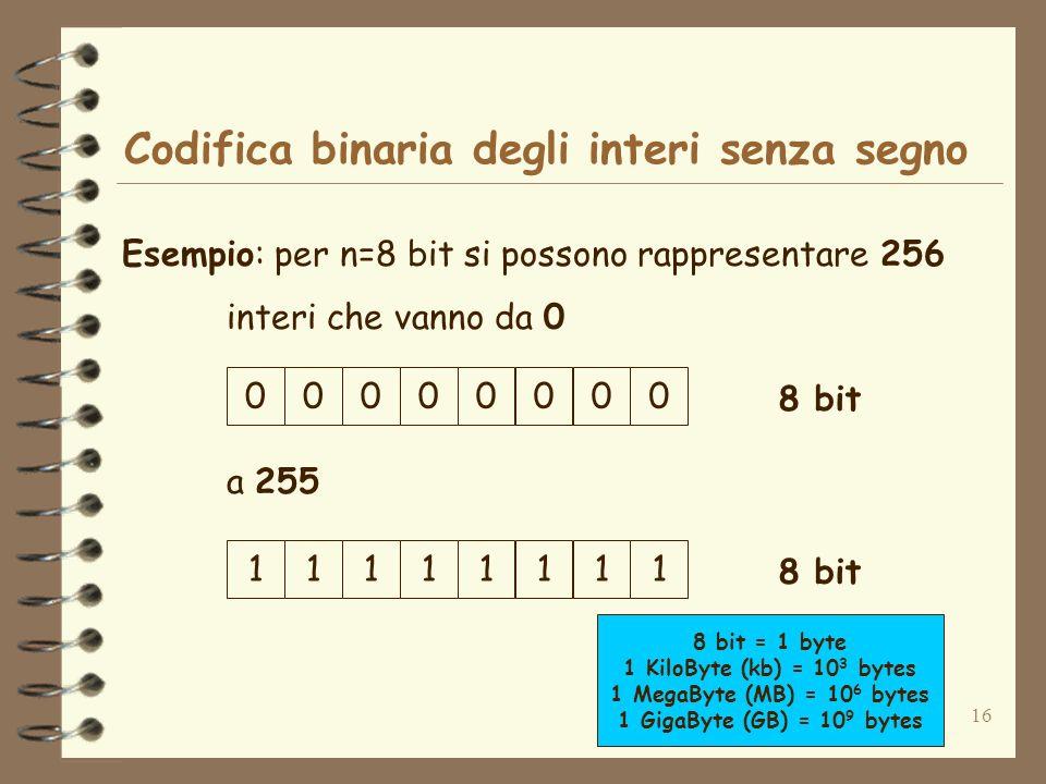 16 Codifica binaria degli interi senza segno Esempio: per n=8 bit si possono rappresentare 256 interi che vanno da 0 00000000 8 bit 11111111 8 bit = 1 byte 1 KiloByte (kb) = 10 3 bytes 1 MegaByte (MB) = 10 6 bytes 1 GigaByte (GB) = 10 9 bytes a 255