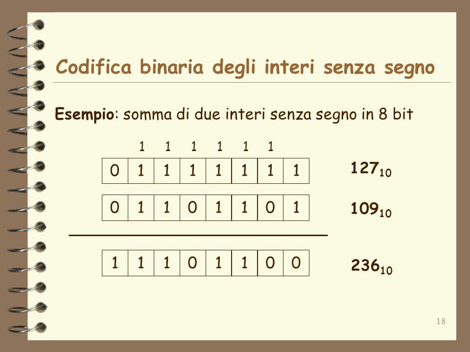 18 Codifica binaria degli interi senza segno Esempio: somma di due interi senza segno in 8 bit 01111111 127 10 01101011 109 10 11101001 236 10 111111