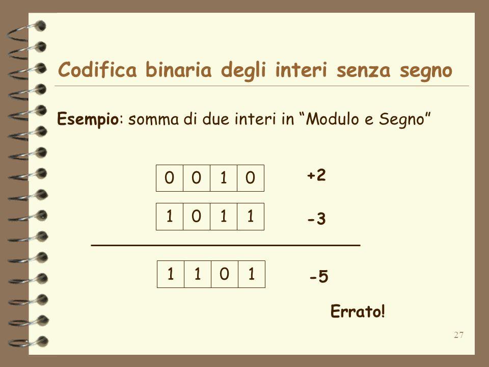 27 Codifica binaria degli interi senza segno Esempio: somma di due interi in Modulo e Segno 0100 +2 0111 -3 1011 -5 Errato!