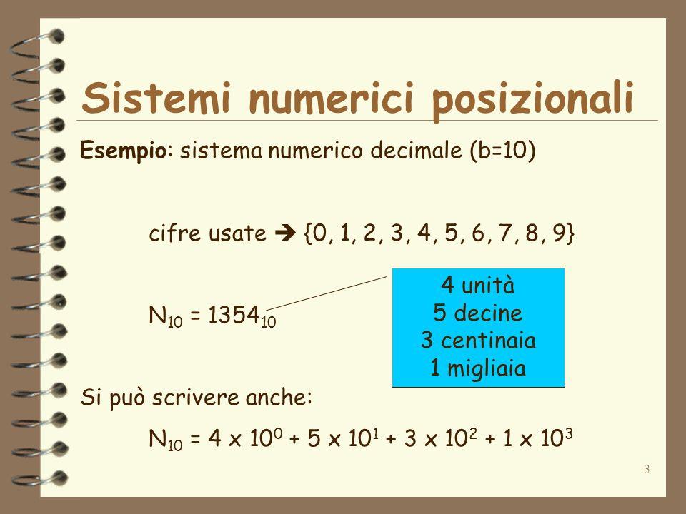3 Sistemi numerici posizionali Esempio: sistema numerico decimale (b=10) cifre usate {0, 1, 2, 3, 4, 5, 6, 7, 8, 9} N 10 = 1354 10 Si può scrivere anche: N 10 = 4 x 10 0 + 5 x 10 1 + 3 x 10 2 + 1 x 10 3 4 unità 5 decine 3 centinaia 1 migliaia