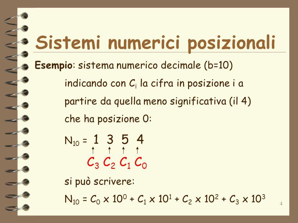 4 Sistemi numerici posizionali Esempio: sistema numerico decimale (b=10) indicando con C i la cifra in posizione i a partire da quella meno significativa (il 4) che ha posizione 0: N 10 = 1 3 5 4 C 3 C 2 C 1 C 0 si può scrivere: N 10 = C 0 x 10 0 + C 1 x 10 1 + C 2 x 10 2 + C 3 x 10 3