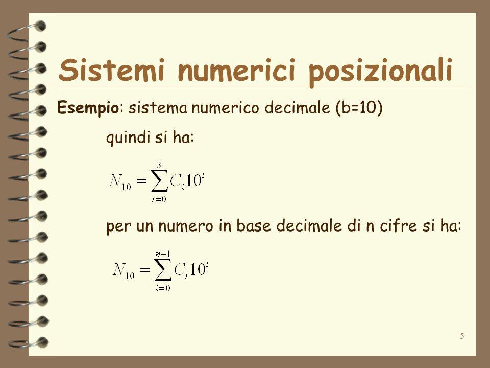 6 Lestensione della sommatoria precedente ad un numero di qualsivoglia cifre (n) in una generica base b è perciò immediata: Sistemi numerici posizionali