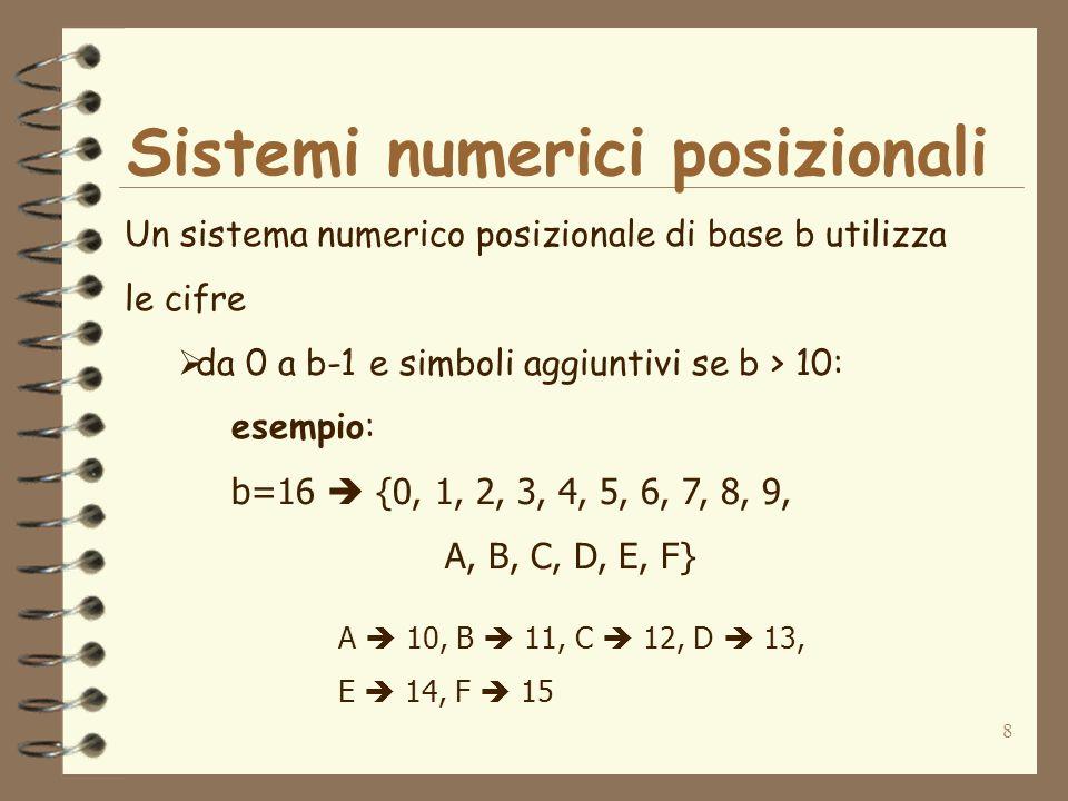 8 Un sistema numerico posizionale di base b utilizza le cifre da 0 a b-1 e simboli aggiuntivi se b > 10: esempio: b=16 {0, 1, 2, 3, 4, 5, 6, 7, 8, 9, A, B, C, D, E, F} A 10, B 11, C 12, D 13, E 14, F 15 Sistemi numerici posizionali