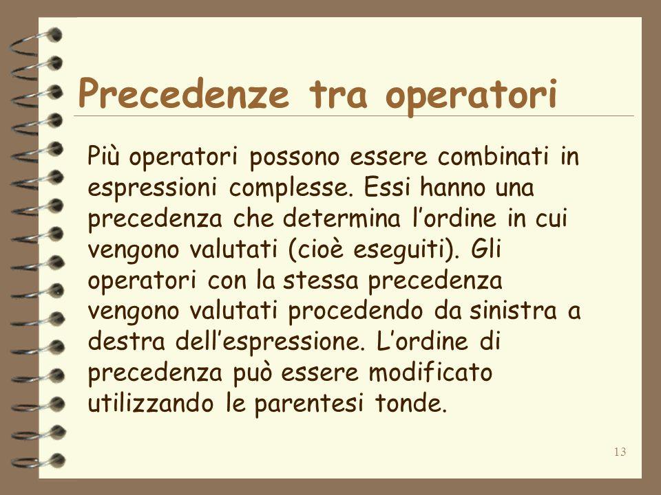 13 Precedenze tra operatori Più operatori possono essere combinati in espressioni complesse.