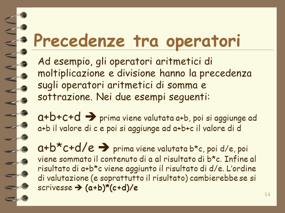 14 Precedenze tra operatori Ad esempio, gli operatori aritmetici di moltiplicazione e divisione hanno la precedenza sugli operatori aritmetici di somma e sottrazione.