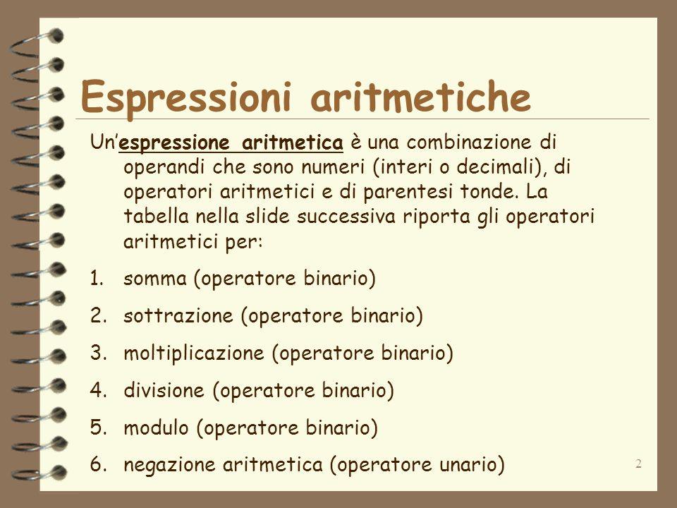 2 Espressioni aritmetiche Unespressione aritmetica è una combinazione di operandi che sono numeri (interi o decimali), di operatori aritmetici e di pa