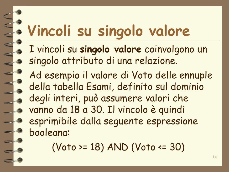 10 Vincoli su singolo valore I vincoli su singolo valore coinvolgono un singolo attributo di una relazione. Ad esempio il valore di Voto delle ennuple
