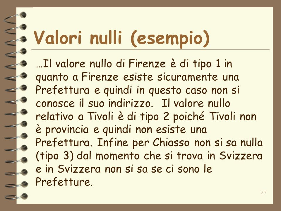 27 Valori nulli (esempio) …Il valore nullo di Firenze è di tipo 1 in quanto a Firenze esiste sicuramente una Prefettura e quindi in questo caso non si