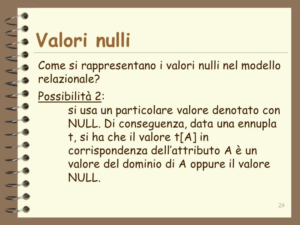 29 Valori nulli Come si rappresentano i valori nulli nel modello relazionale? Possibilità 2: si usa un particolare valore denotato con NULL. Di conseg