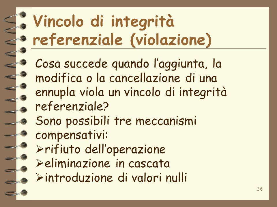 36 Vincolo di integrità referenziale (violazione) Cosa succede quando laggiunta, la modifica o la cancellazione di una ennupla viola un vincolo di int