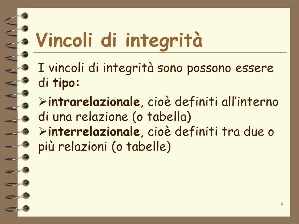 9 Vincoli di integrità I vincoli di tipo intrarelazionale che vedremo sono: vincoli su singolo valore di attributo (o vincoli di dominio) vincoli di ennupla (o di tupla) vincoli di chiave e di chiave primaria Il vincolo di tipo interrelazionale che vedremo è il vincolo di integrità referenziale