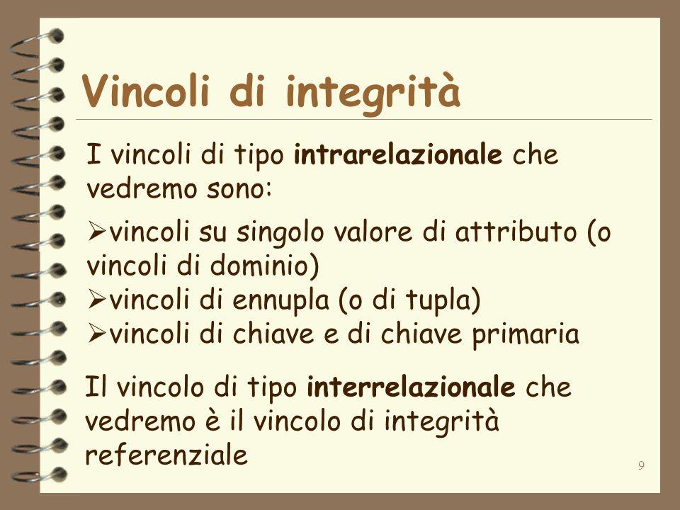 9 Vincoli di integrità I vincoli di tipo intrarelazionale che vedremo sono: vincoli su singolo valore di attributo (o vincoli di dominio) vincoli di e