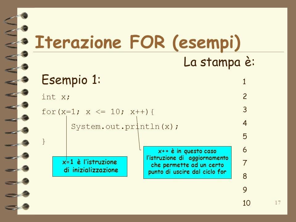 17 Iterazione FOR (esempi) Esempio 1: int x; for(x=1; x <= 10; x++){ System.out.println(x); } La stampa è: 1 2 3 4 5 6 7 8 9 10 x++ è in questo caso listruzione di aggiornamento che permette ad un certo punto di uscire dal ciclo for x=1 è listruzione di inizializzazione