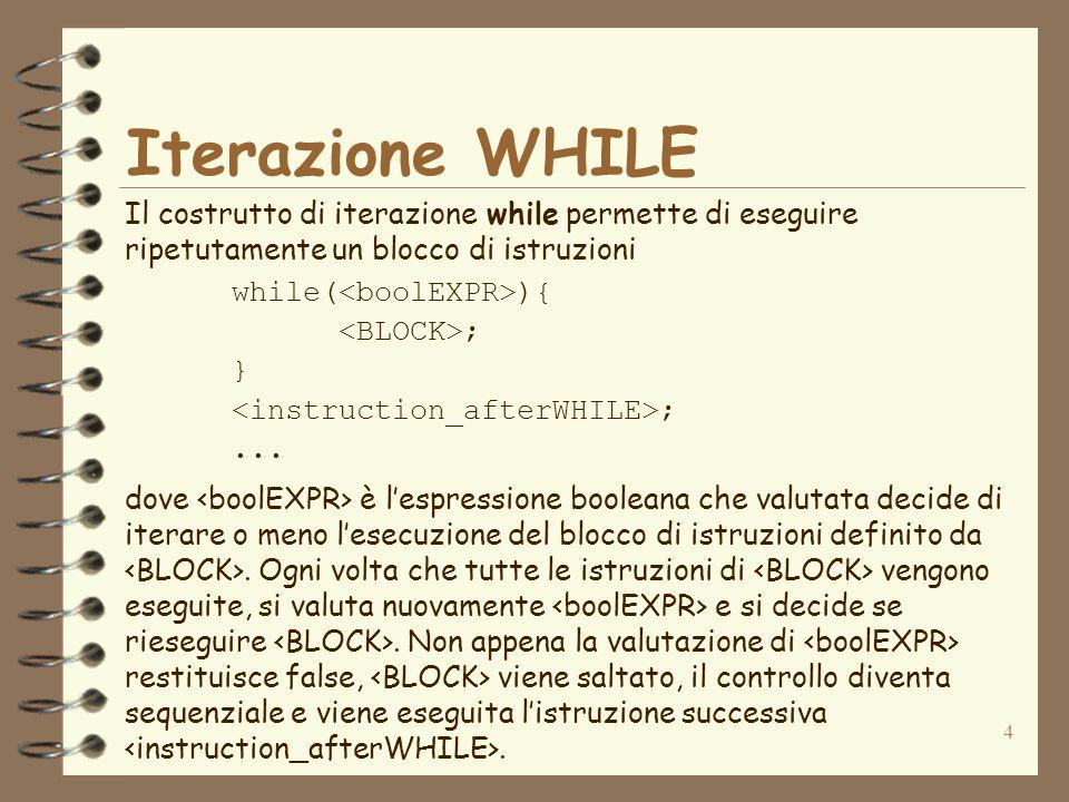 4 Iterazione WHILE Il costrutto di iterazione while permette di eseguire ripetutamente un blocco di istruzioni while( ){ ; } ;...