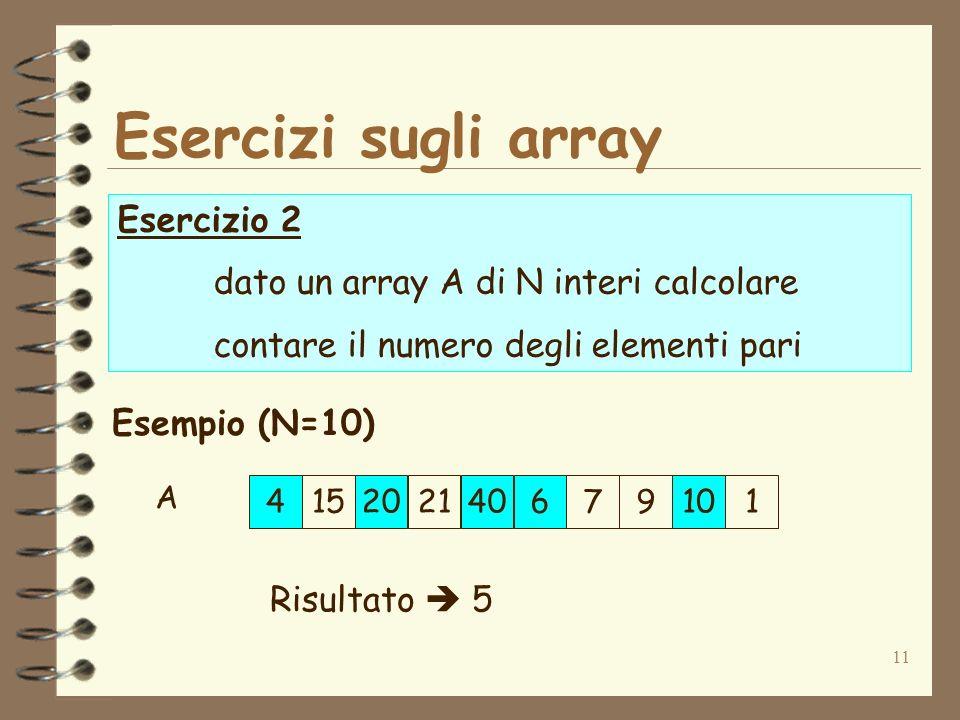 11 Esercizi sugli array Esercizio 2 dato un array A di N interi calcolare contare il numero degli elementi pari Esempio (N=10) 415202140679101 Risultato 5 A