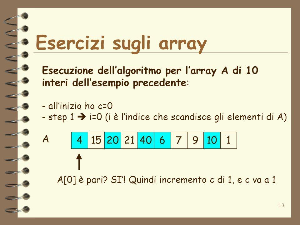 13 Esercizi sugli array 415202140679101 A Esecuzione dellalgoritmo per larray A di 10 interi dellesempio precedente: - allinizio ho c=0 - step 1 i=0 (