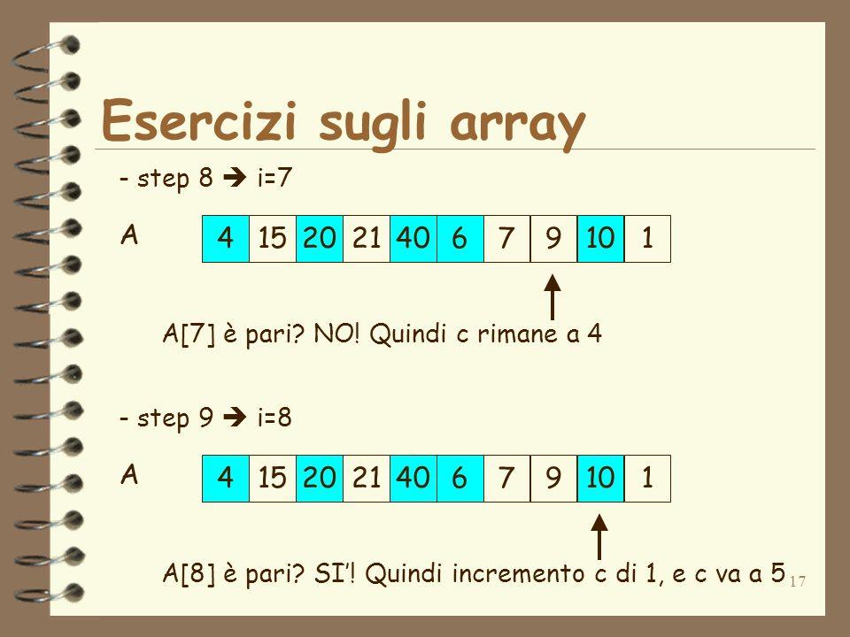 17 Esercizi sugli array 152179420406101 A - step 8 i=7 A[7] è pari? NO! Quindi c rimane a 4 152179420406101 A - step 9 i=8 A[8] è pari? SI! Quindi inc
