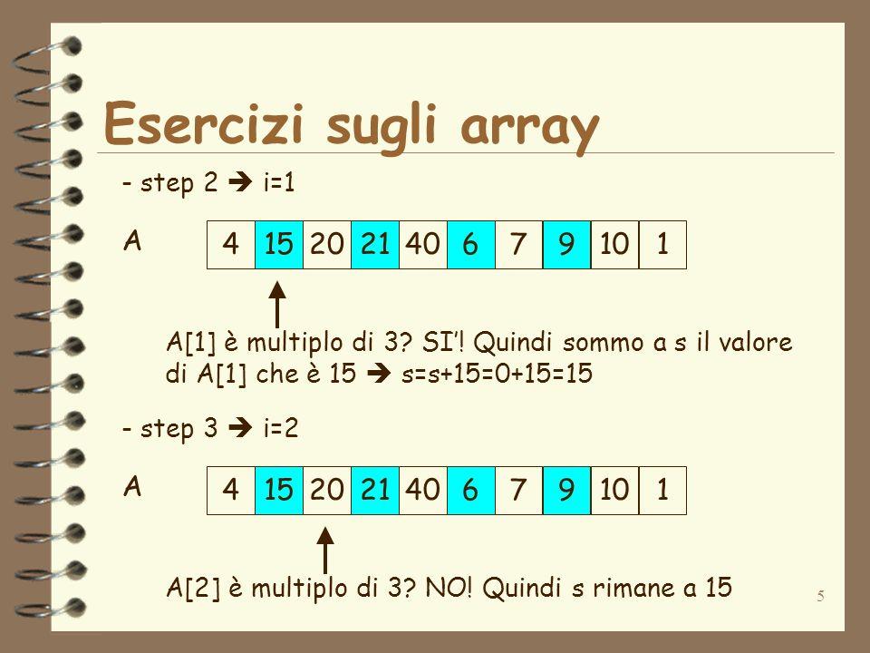 5 Esercizi sugli array 415202140679101 A - step 2 i=1 A[1] è multiplo di 3? SI! Quindi sommo a s il valore di A[1] che è 15 s=s+15=0+15=15 41520214067