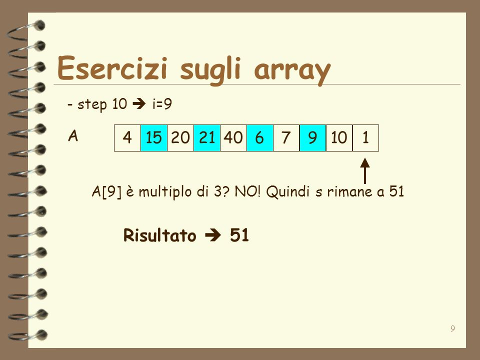 10 Esercizi sugli array public class SommaMultipliTre { public static void main(String arg[]) { int[] A={4,15,20,21,40,6,7,9,10,1}; int i; int s, length; length=10; i=0; s=0; while(i <= lentgth-1){ //Verifico se lelemento i-esimo //è multiplo di 3 if(A[i] % 3 == 0){ s=s+A[i]; } i=i+1; } System.out.println(Somma=+s); }