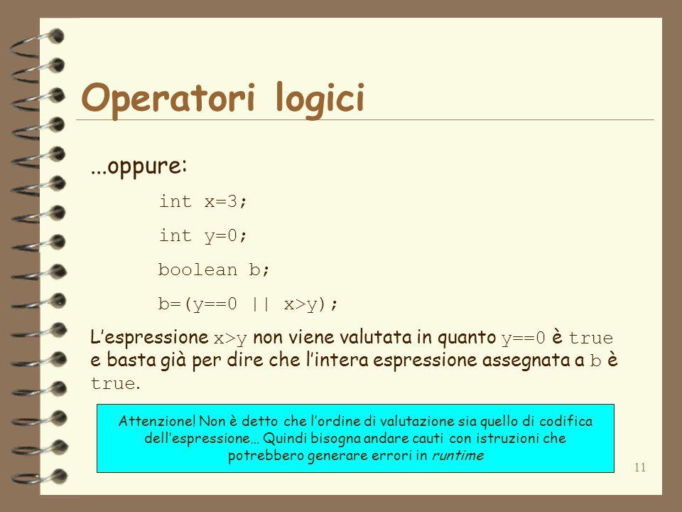 11 Operatori logici...oppure: int x=3; int y=0; boolean b; b=(y==0 || x>y); Lespressione x>y non viene valutata in quanto y==0 è true e basta già per dire che lintera espressione assegnata a b è true.