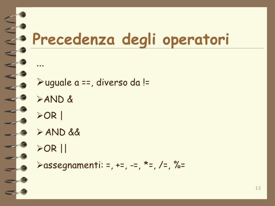 13 Precedenza degli operatori...