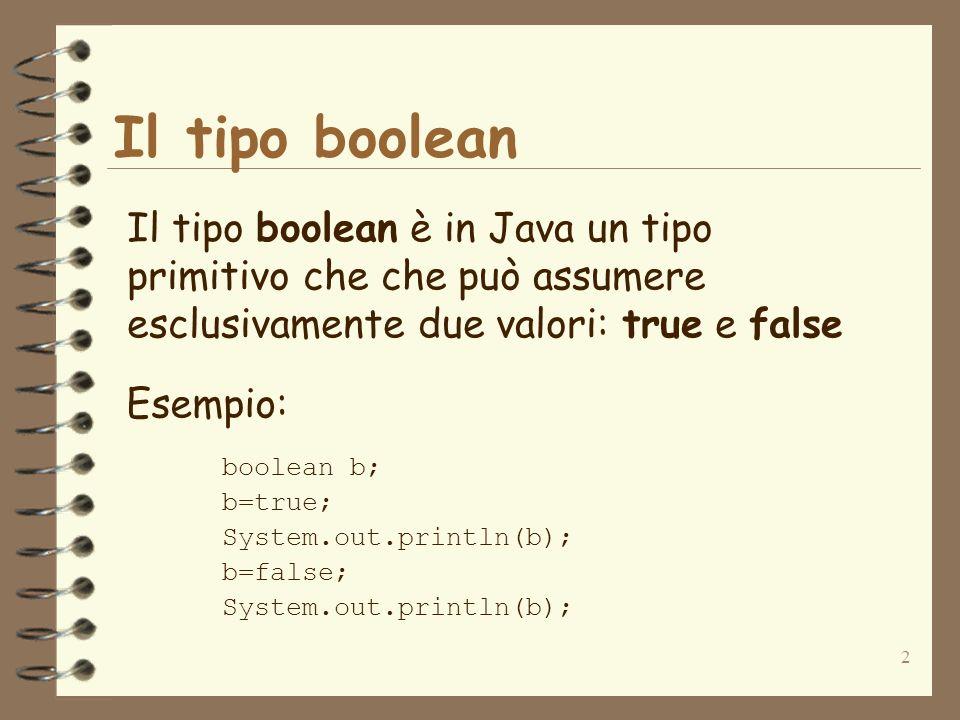 2 Il tipo boolean Il tipo boolean è in Java un tipo primitivo che che può assumere esclusivamente due valori: true e false Esempio: boolean b; b=true; System.out.println(b); b=false; System.out.println(b);