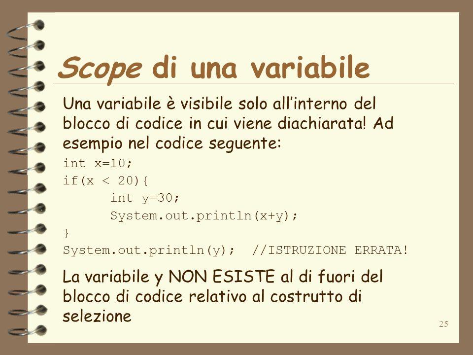 25 Scope di una variabile Una variabile è visibile solo allinterno del blocco di codice in cui viene diachiarata.
