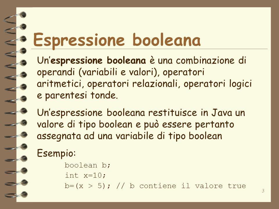 3 Espressione booleana Unespressione booleana è una combinazione di operandi (variabili e valori), operatori aritmetici, operatori relazionali, operatori logici e parentesi tonde.