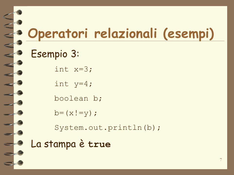 8 Operatori logici Gli operatori logici operano su operandi booleani (espressione booleana, variabile booleana o valore booleano esplicito) OperatoreDescrizioneUsoRestituisce true se… && AND abbreviato op1 && op2 op1 e op2 valgono entrambi true &ANDop1 & op2 op1 e op2 valgono entrambi true ||OR abbreviatoop1 || op2 almeno uno tra op1 e op2 è true |ORop1 | op2 almeno uno tra op1 e op2 è true !NOT!op1 op1 è false