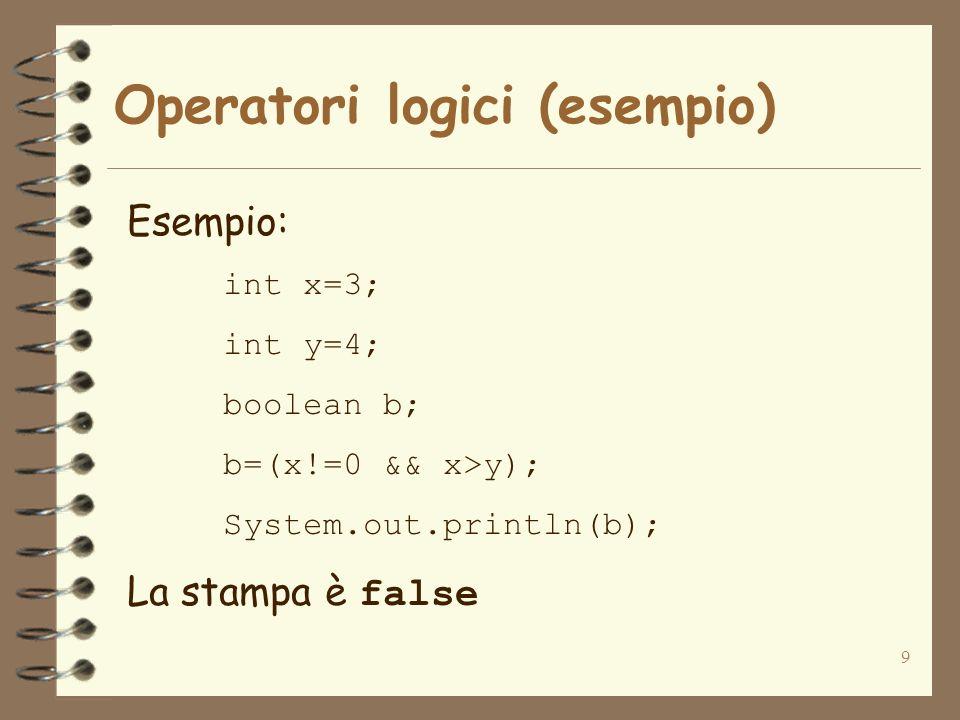 9 Operatori logici (esempio) Esempio: int x=3; int y=4; boolean b; b=(x!=0 && x>y); System.out.println(b); La stampa è false