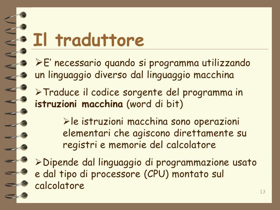 13 Il traduttore E necessario quando si programma utilizzando un linguaggio diverso dal linguaggio macchina Traduce il codice sorgente del programma i