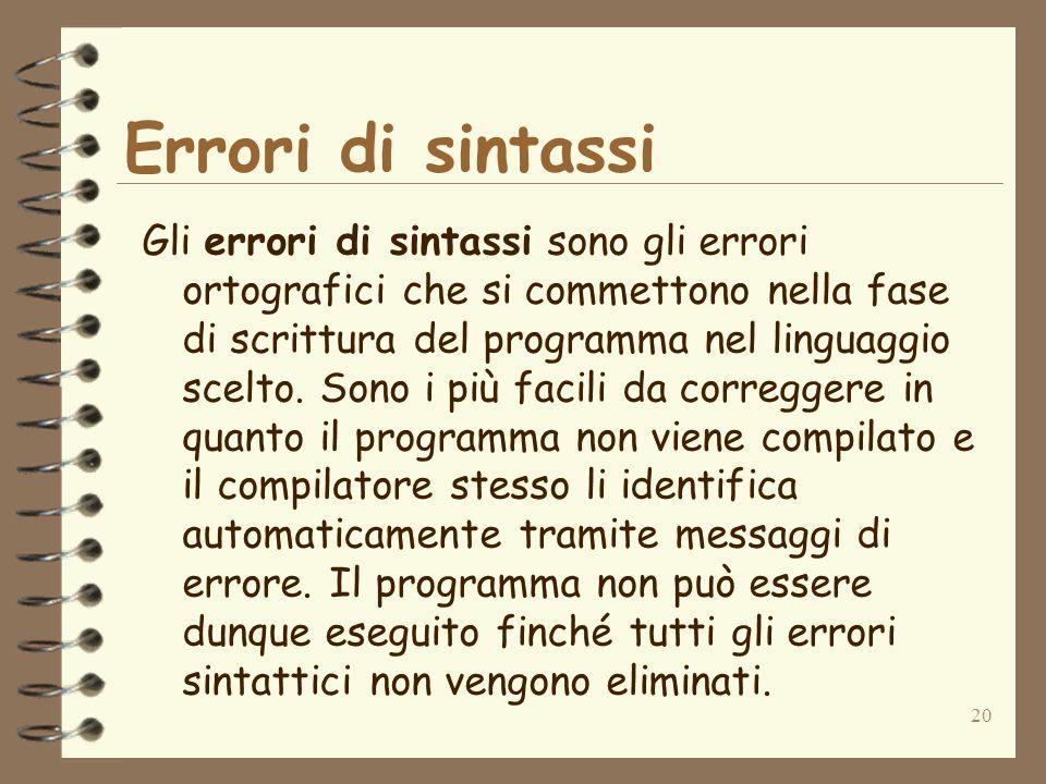 20 Errori di sintassi Gli errori di sintassi sono gli errori ortografici che si commettono nella fase di scrittura del programma nel linguaggio scelto