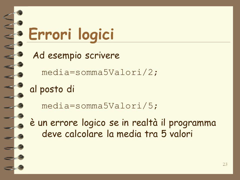 23 Errori logici Ad esempio scrivere media=somma5Valori/2; al posto di media=somma5Valori/5; è un errore logico se in realtà il programma deve calcola