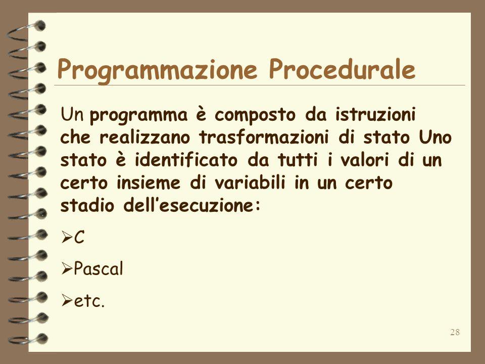 28 Programmazione Procedurale Un programma è composto da istruzioni che realizzano trasformazioni di stato Uno stato è identificato da tutti i valori