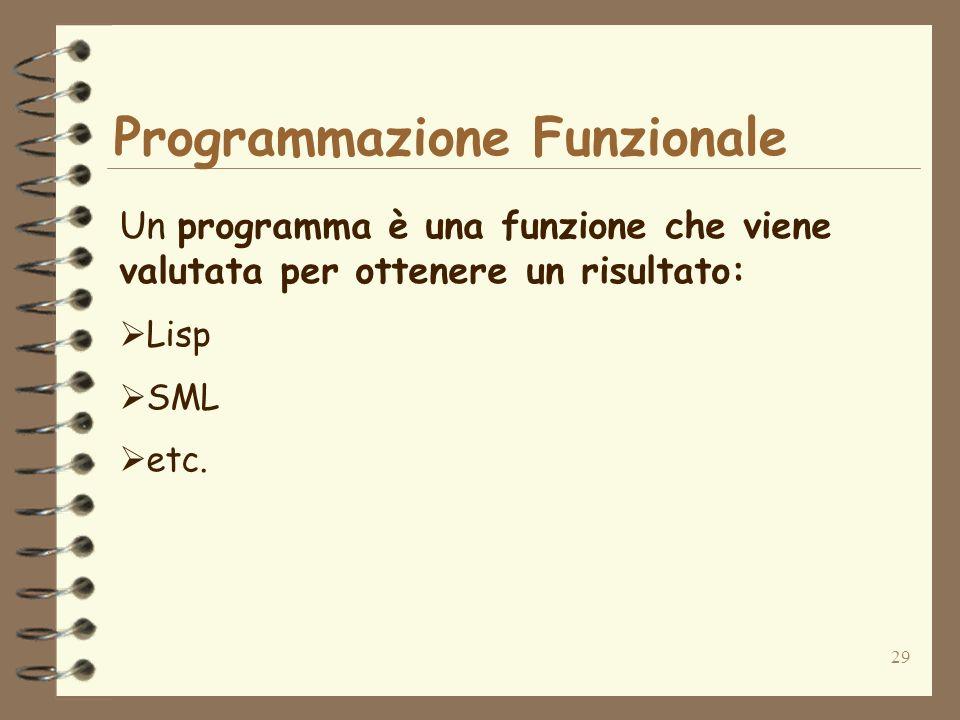 29 Programmazione Funzionale Un programma è una funzione che viene valutata per ottenere un risultato: Lisp SML etc.