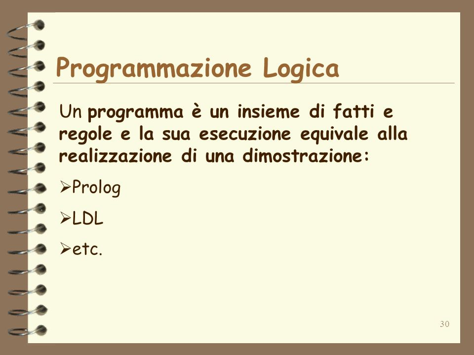 30 Programmazione Logica Un programma è un insieme di fatti e regole e la sua esecuzione equivale alla realizzazione di una dimostrazione: Prolog LDL