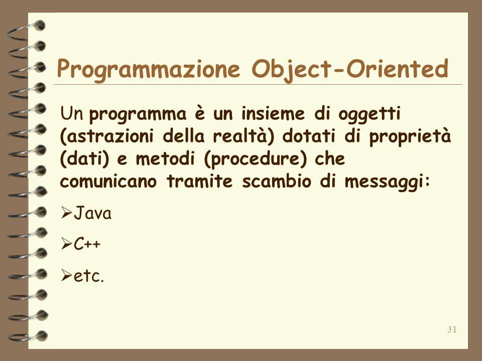 31 Programmazione Object-Oriented Un programma è un insieme di oggetti (astrazioni della realtà) dotati di proprietà (dati) e metodi (procedure) che c