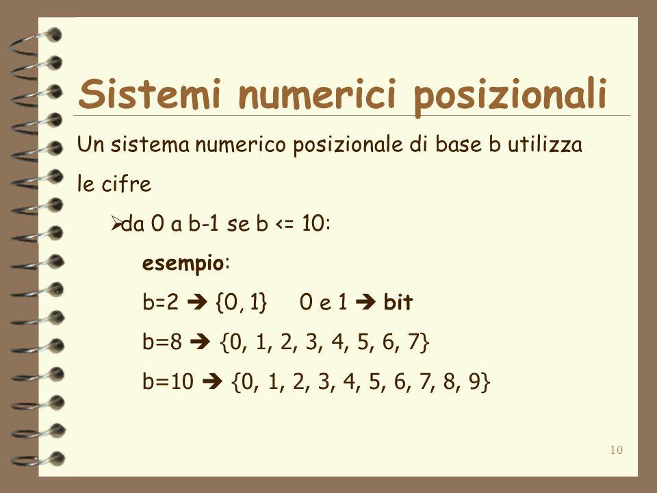 10 Un sistema numerico posizionale di base b utilizza le cifre da 0 a b-1 se b <= 10: esempio: b=2 {0, 1} 0 e 1 bit b=8 {0, 1, 2, 3, 4, 5, 6, 7} b=10 {0, 1, 2, 3, 4, 5, 6, 7, 8, 9} Sistemi numerici posizionali