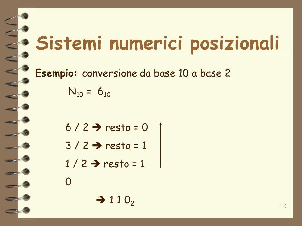 16 Sistemi numerici posizionali Esempio: conversione da base 10 a base 2 N 10 = 6 10 6 / 2 resto = 0 3 / 2 resto = 1 1 / 2 resto = 1 0 1 1 0 2