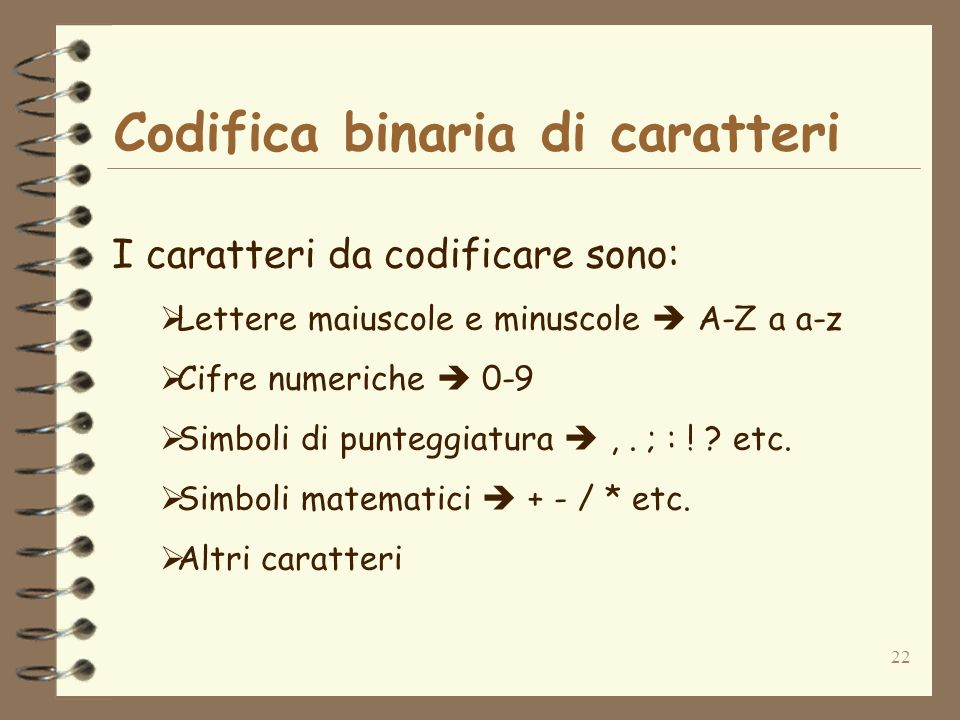 22 Codifica binaria di caratteri I caratteri da codificare sono: Lettere maiuscole e minuscole A-Z a a-z Cifre numeriche 0-9 Simboli di punteggiatura,
