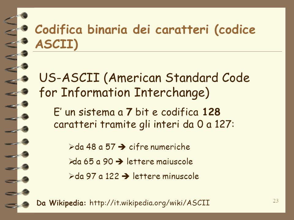 23 Codifica binaria dei caratteri (codice ASCII) US-ASCII (American Standard Code for Information Interchange) E un sistema a 7 bit e codifica 128 caratteri tramite gli interi da 0 a 127: da 48 a 57 cifre numeriche da 65 a 90 lettere maiuscole da 97 a 122 lettere minuscole Da Wikipedia: http://it.wikipedia.org/wiki/ASCII