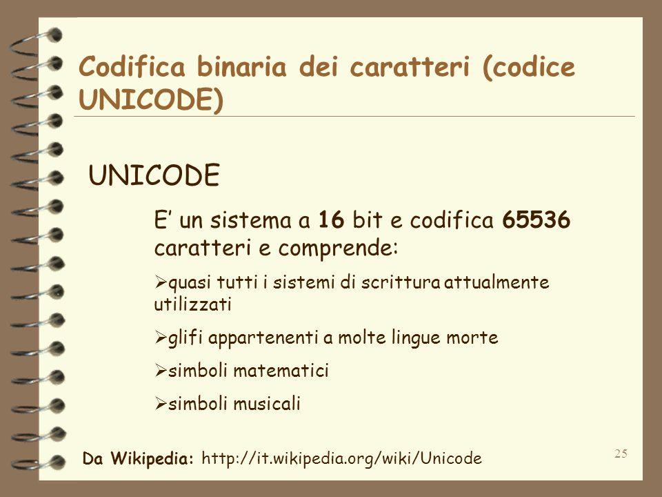 25 Codifica binaria dei caratteri (codice UNICODE) UNICODE E un sistema a 16 bit e codifica 65536 caratteri e comprende: quasi tutti i sistemi di scrittura attualmente utilizzati glifi appartenenti a molte lingue morte simboli matematici simboli musicali Da Wikipedia: http://it.wikipedia.org/wiki/Unicode