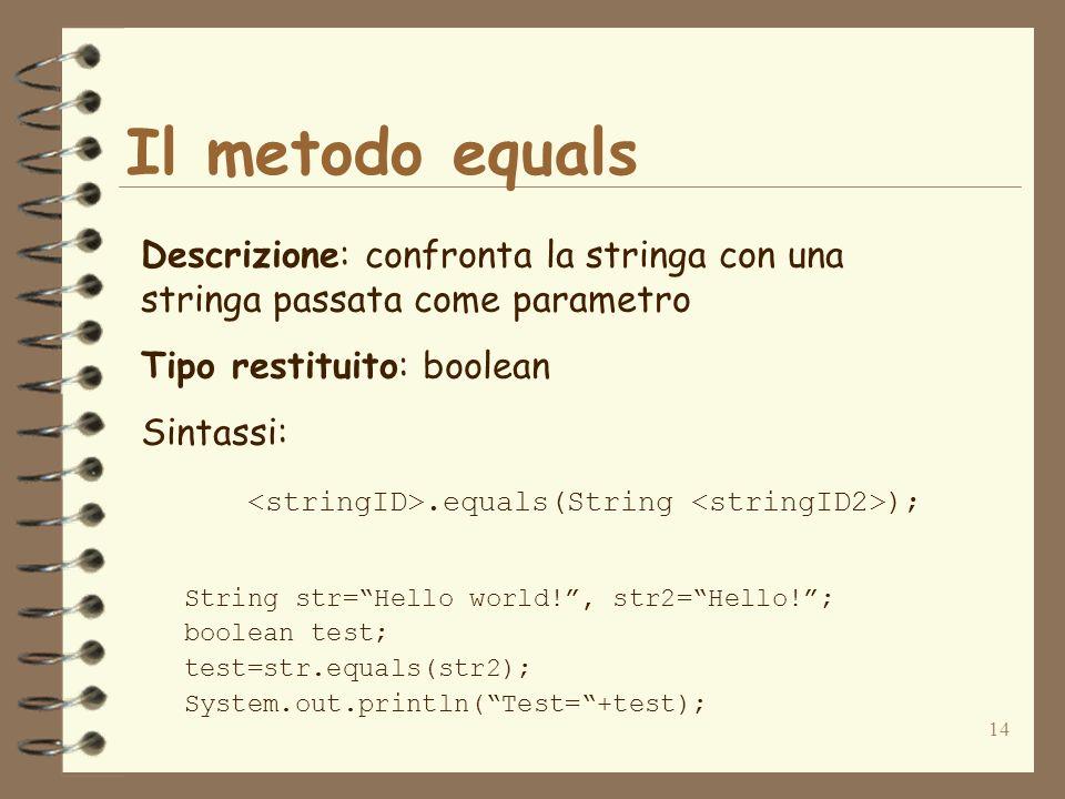14 Il metodo equals Descrizione: confronta la stringa con una stringa passata come parametro Tipo restituito: boolean Sintassi:.equals(String ); Strin