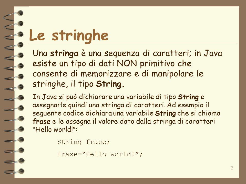 3 Dichiarazione di una stringa … una dichiarazione con inizializzazione della stringa è: String = ; Esempio di dichiarazione di una stringa di 6 caratteri: String isString=Hello!; In questo caso la dichiarazione costruisce automaticamente una stringa di 6 caratteri inizializzata con il valore Hello.