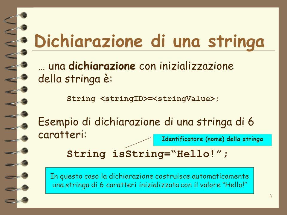 3 Dichiarazione di una stringa … una dichiarazione con inizializzazione della stringa è: String = ; Esempio di dichiarazione di una stringa di 6 carat