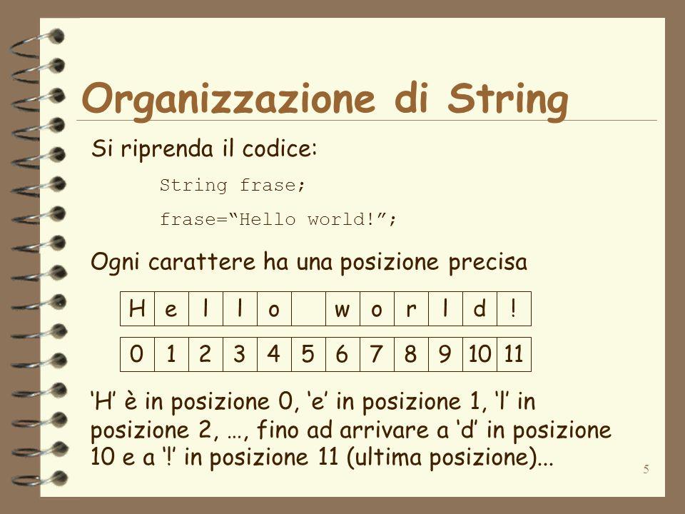 5 Organizzazione di String Si riprenda il codice: String frase; frase=Hello world!; Ogni carattere ha una posizione precisa Helloworld! 01234567891011