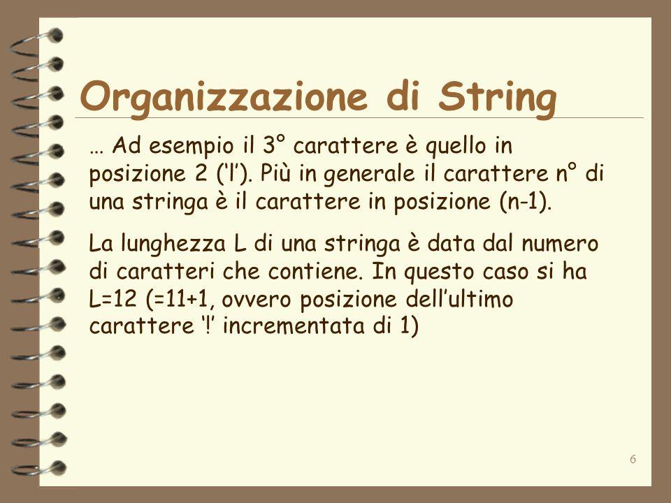 6 Organizzazione di String … Ad esempio il 3° carattere è quello in posizione 2 (l). Più in generale il carattere n° di una stringa è il carattere in