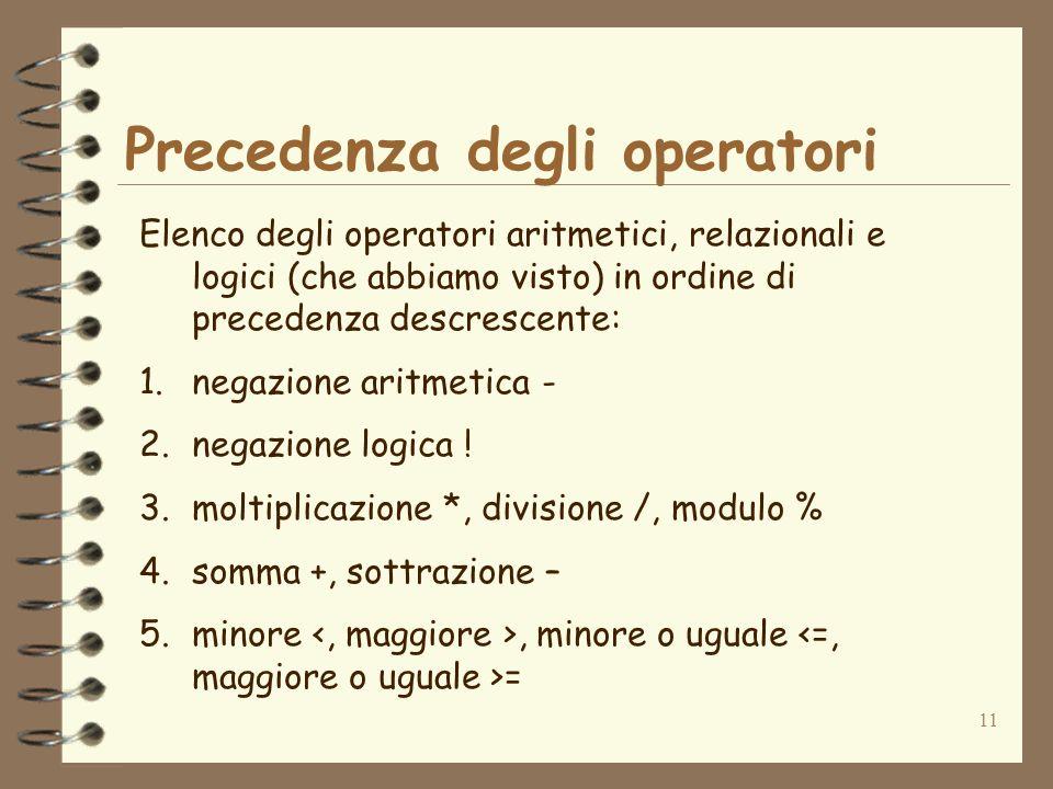 11 Precedenza degli operatori Elenco degli operatori aritmetici, relazionali e logici (che abbiamo visto) in ordine di precedenza descrescente: 1.nega