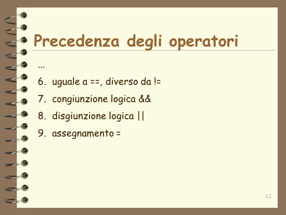 12 Precedenza degli operatori... 6.uguale a ==, diverso da != 7.congiunzione logica && 8.disgiunzione logica || 9.assegnamento =